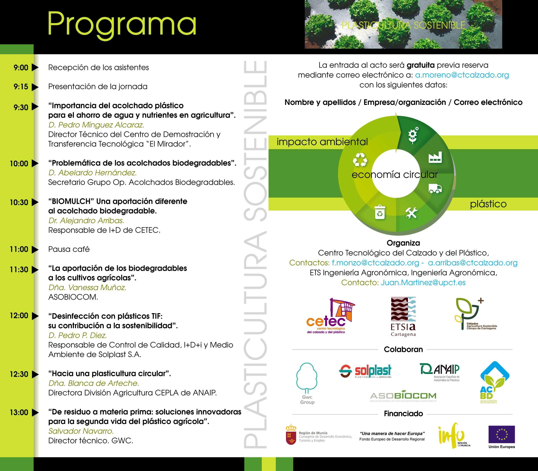 Programa Jornada 'Plasticultura Sostenible', con el Cetec y la UPCT