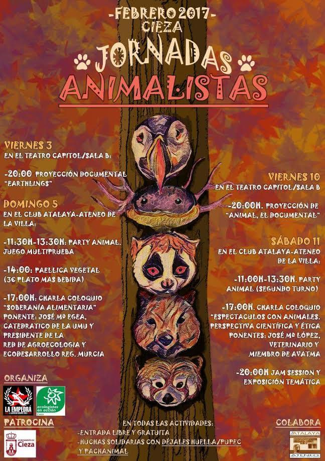 Cartel de las Jornadas Animalistas, con La Empedrá