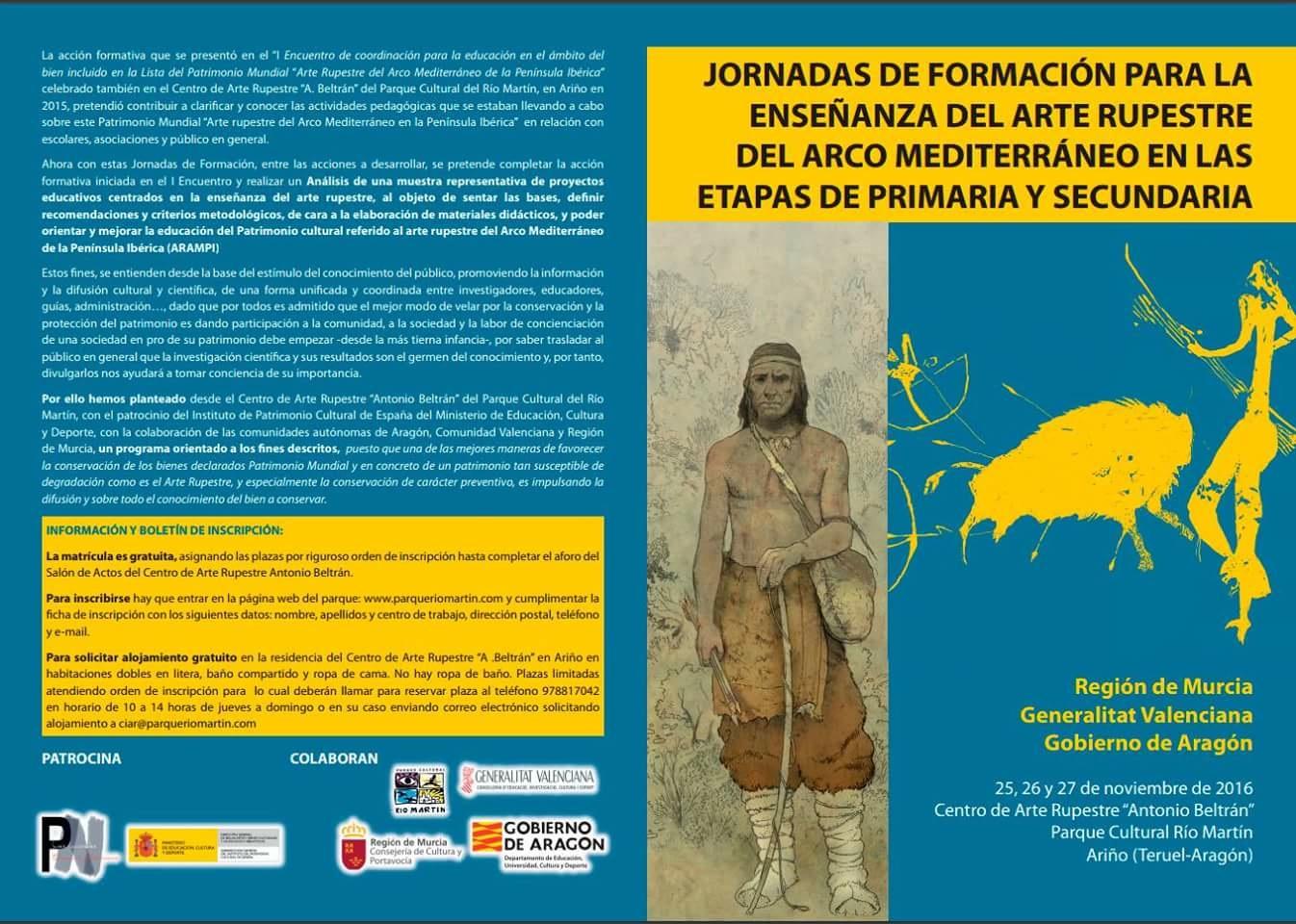 Cartel de las Jornadas de Formación para la Enseñanza del Arte Rupestre del Arco Mediterráneo en Primaria y Secundaria