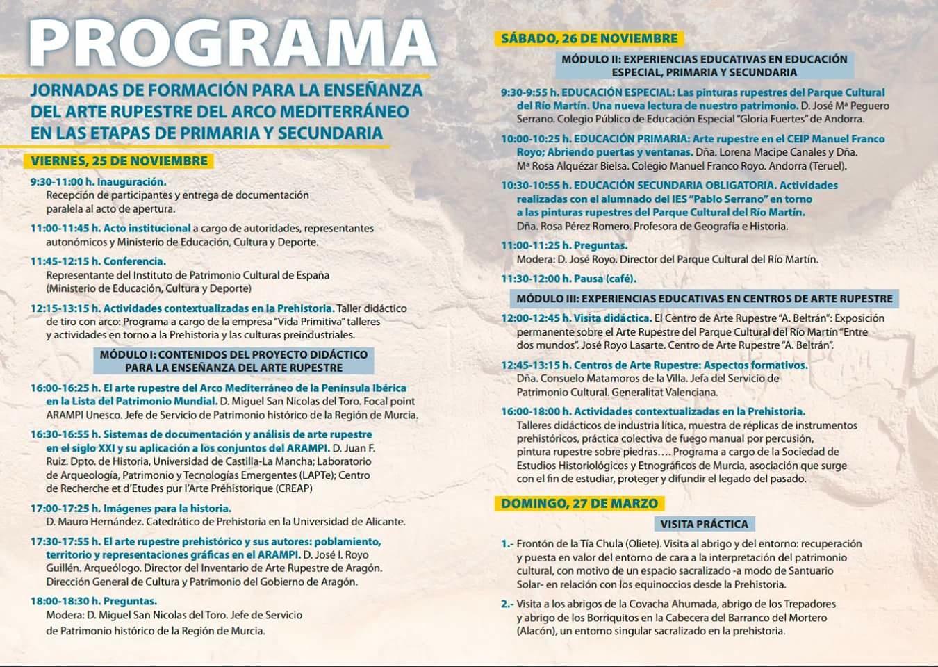 Programa de las Jornadas de Formación para la Enseñanza del Arte Rupestre del Arco Mediterráneo en Primaria y Secundaria