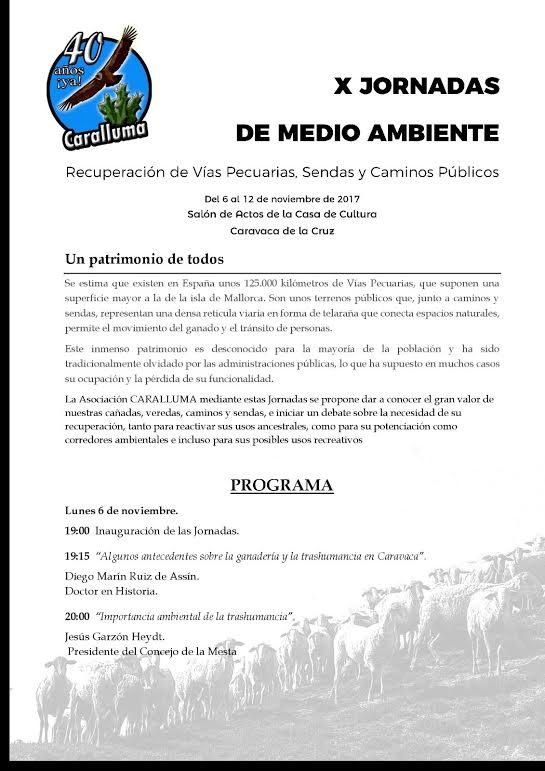 X Jornadas de Medio Ambiente de Caralluma. Programa pag. 1