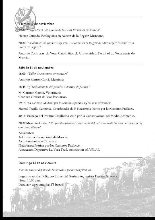 X Jornadas de Medio Ambiente de Caralluma. Programa pag. 2