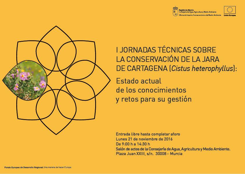 Cartel de las I Jornadas técnicas sobre la conservación de la jara de Cartagena, con la OISMA