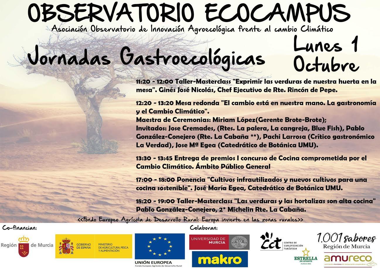 Programa día 1 de las Jornadas gastronómicas de Agricultura Ecológica y Sostenible. Observatorio Agroecólogico Ecocampus