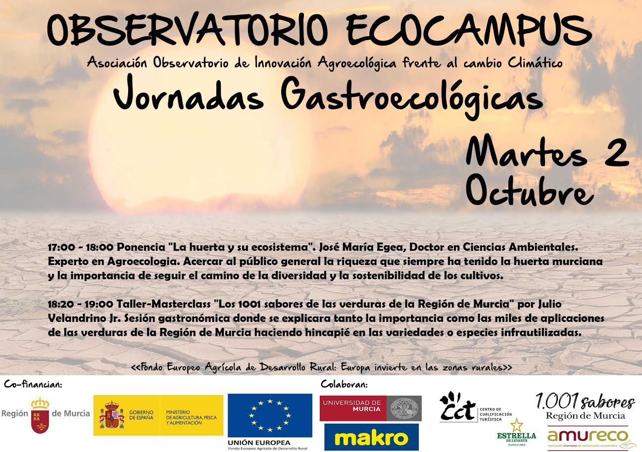 Programa día 2 de las Jornadas gastronómicas de Agricultura Ecológica y Sostenible. Observatorio Agroecólogico Ecocampus