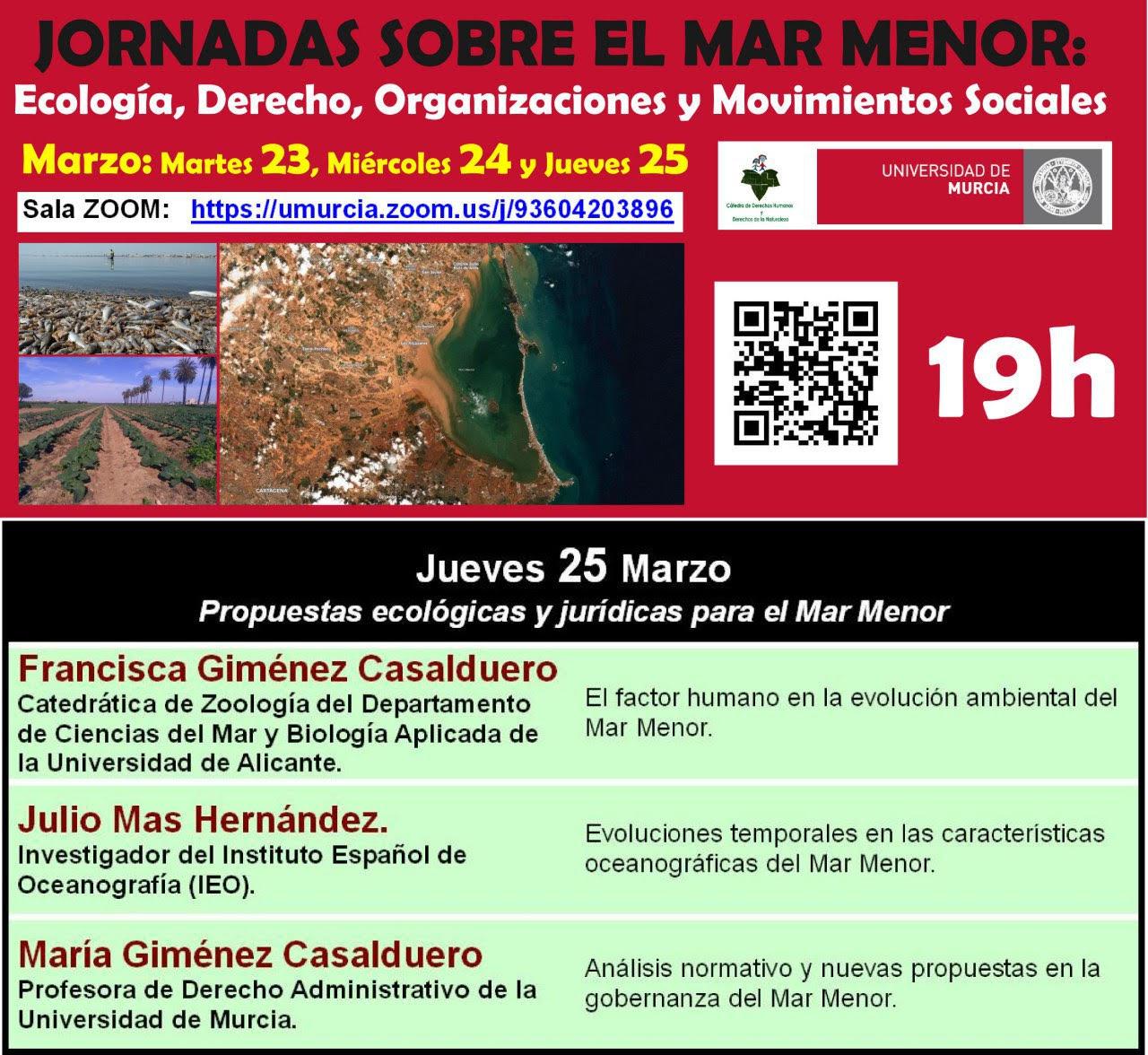 Jornadas sobre el Mar Menor: Ecología, Derecho, Organizaciones y Movimientos Sociales, con la UMU