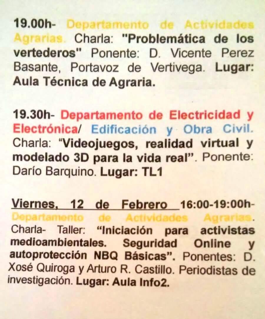 Programa de las Jornadas Técnicas del IES El Palmeral, de Orihuela.