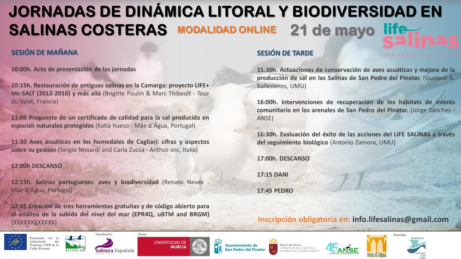 Jornadas de Dinámica Litoral y Biodiversidad en Salinas Costeras, con LIFE Salinas