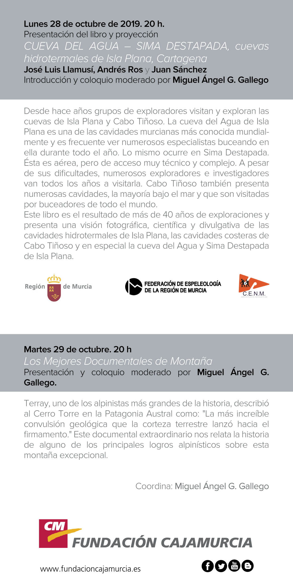 Programa de La aventura de explorar, con Fundación Cajamurcia