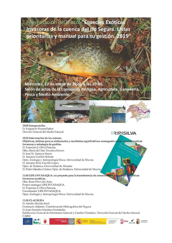 Presentación de un libro sobre especies exóticas invasoras en el Segura, con el LIFE Invasaqua