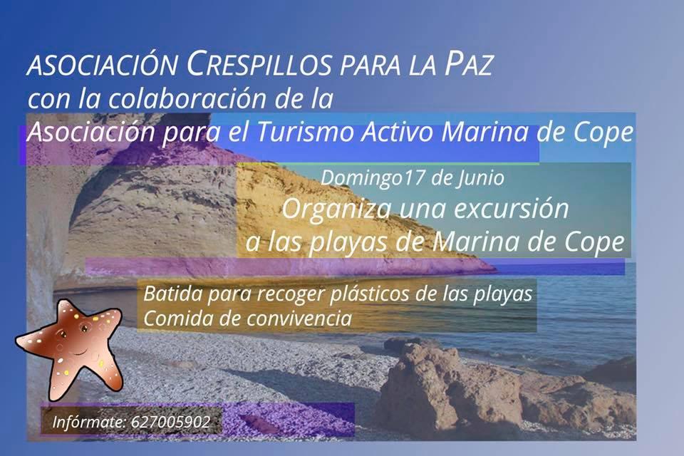 Recogida de plásticos en Marina de Cope, con Crespillos para la Paz