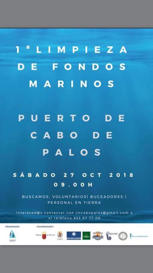Limpieza fondos marinos, con Club Náutico Cabo de Palos