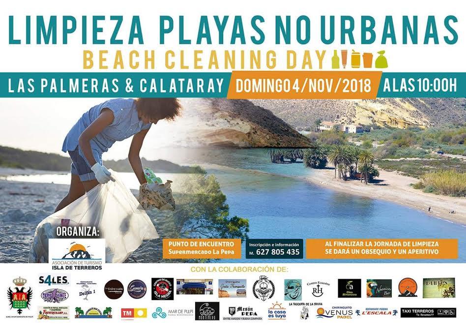 Limpieza de playa no urbana, con Isla de Terreros