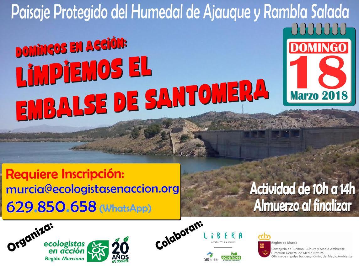 Limpieza de residuos en Embalse de Santomera, con EEA
