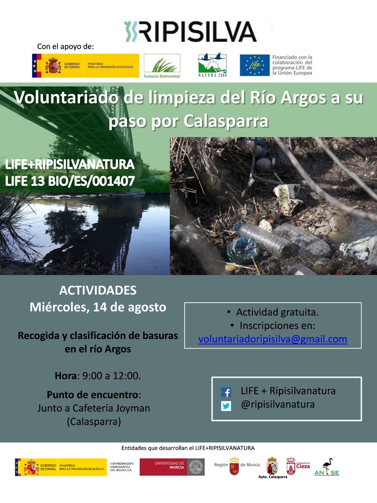 Limpieza de residuos en el río Argos, con LIFE Ripisilvanatura