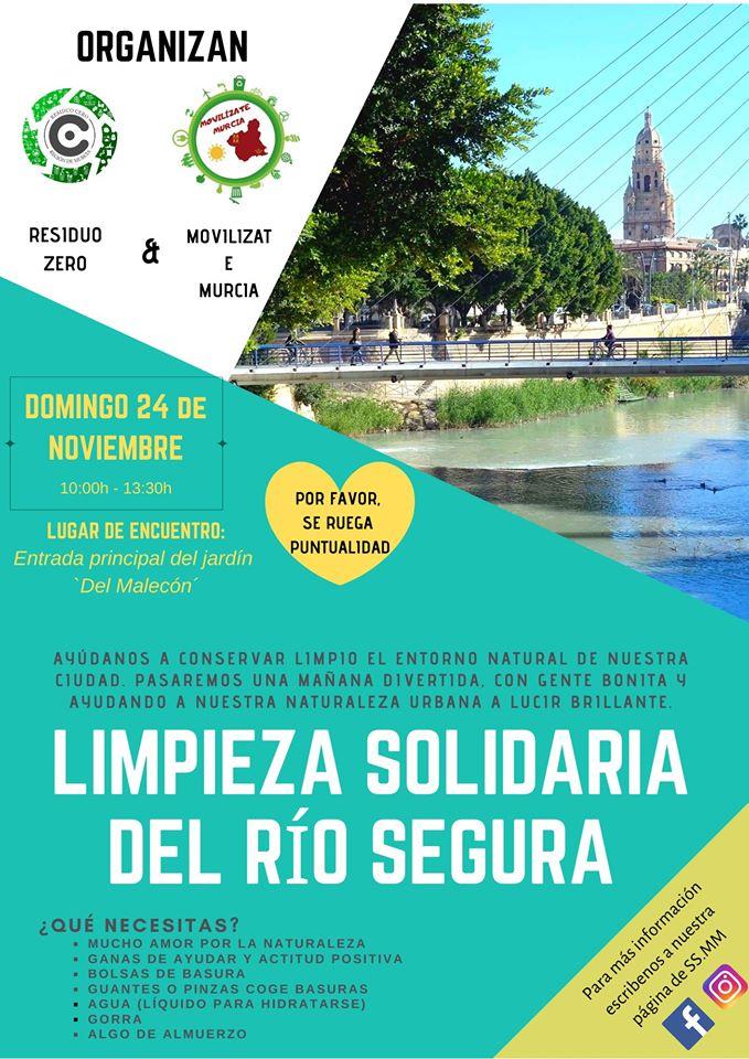 Limpieza solidaria del río Segura, con Residuo Cero y Movilízate Murcia