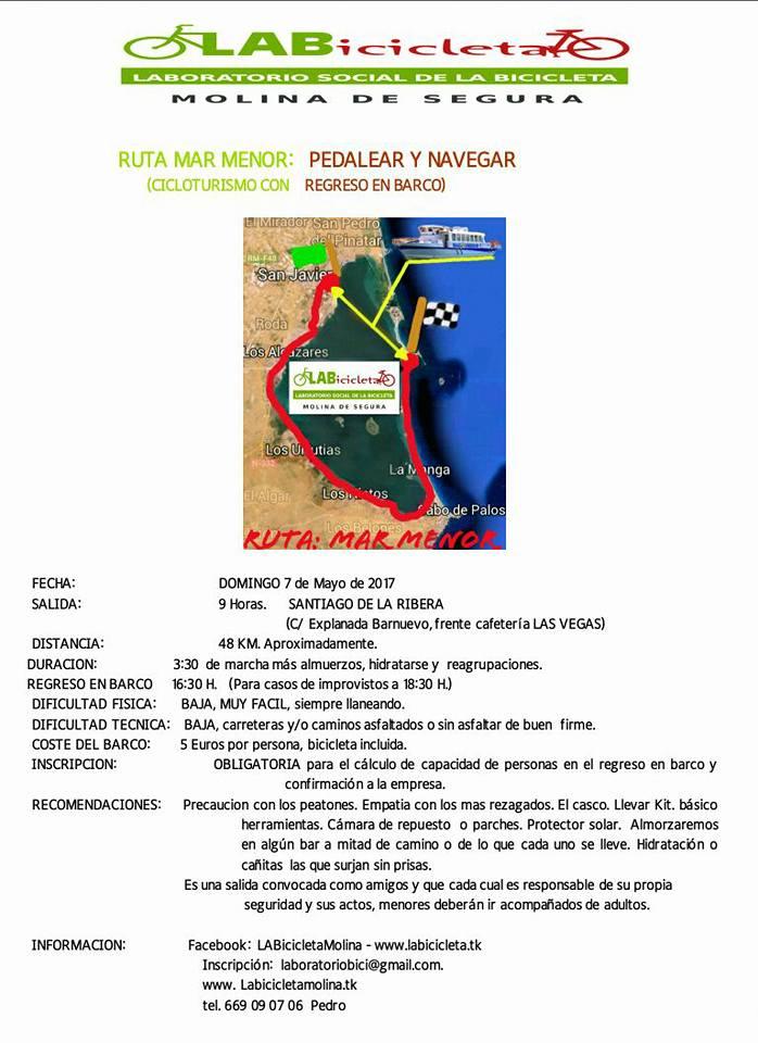 Programa de la III Marcha en bici por el Mar Menor, con LABicicleta