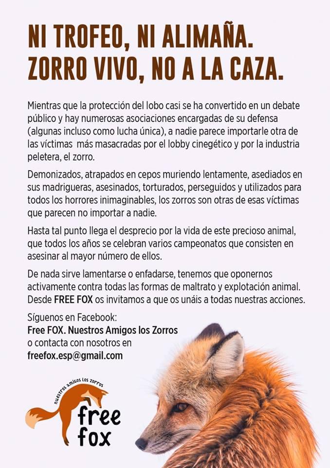 Manifiesto contra la caza del zorro, con Free fox