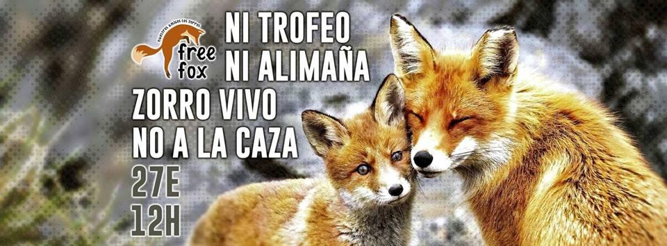 Manifestación contra la caza del zorro, con Free fox