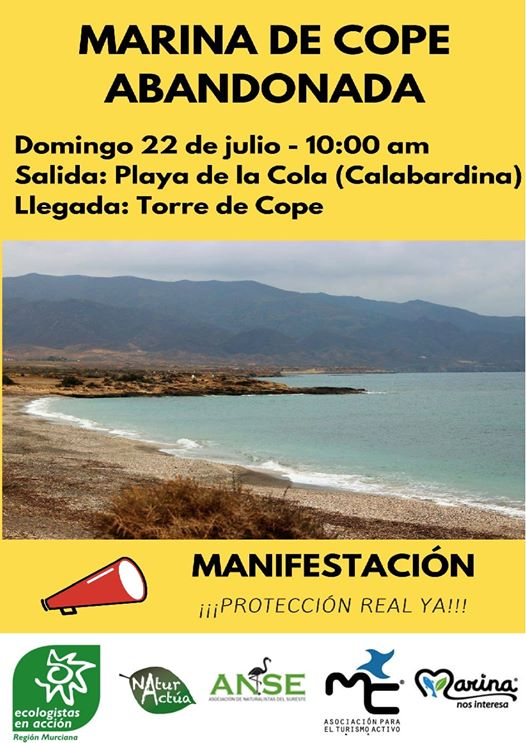 Cartel de la manifestación 'Marina de Cope Abandonada'