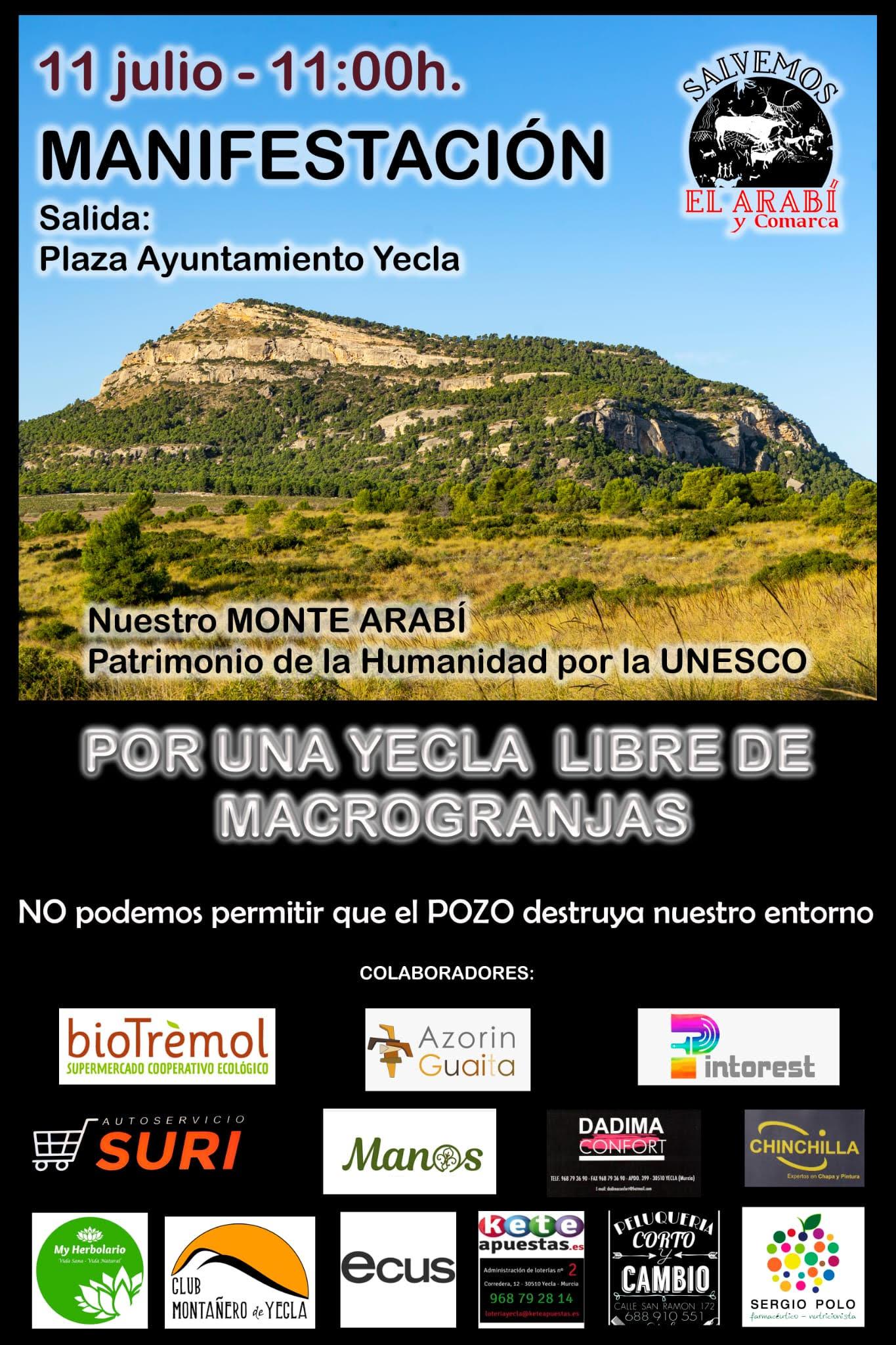 Cartel informativo de la manifestación