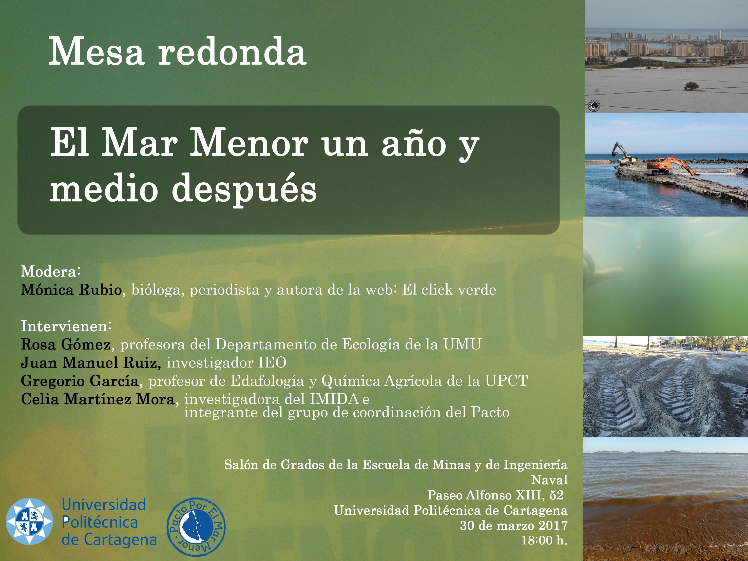 Cartel de la Mesa Redonda sobre el Mar Menor, con Pacto por el Mar Menor