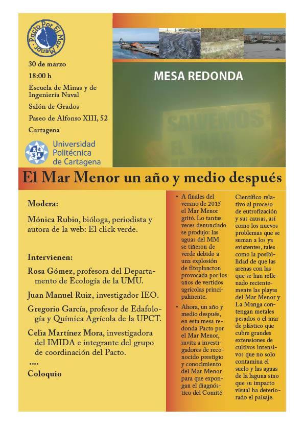 Programa de la Mesa Redonda sobre el Mar Menor, con Pacto por el Mar Menor
