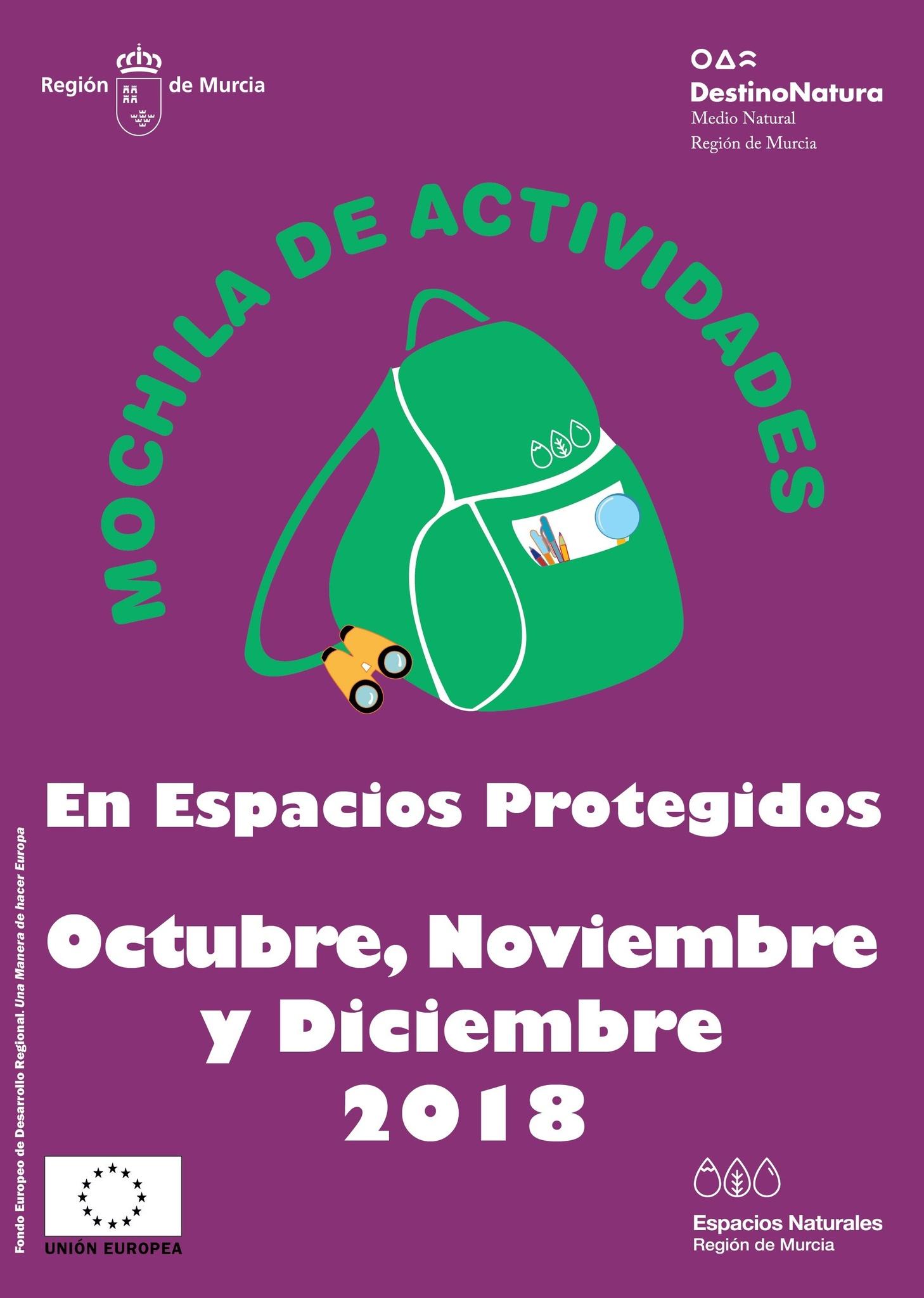 Mochila de Actividades de la CARM, octubre a diciembre 2018