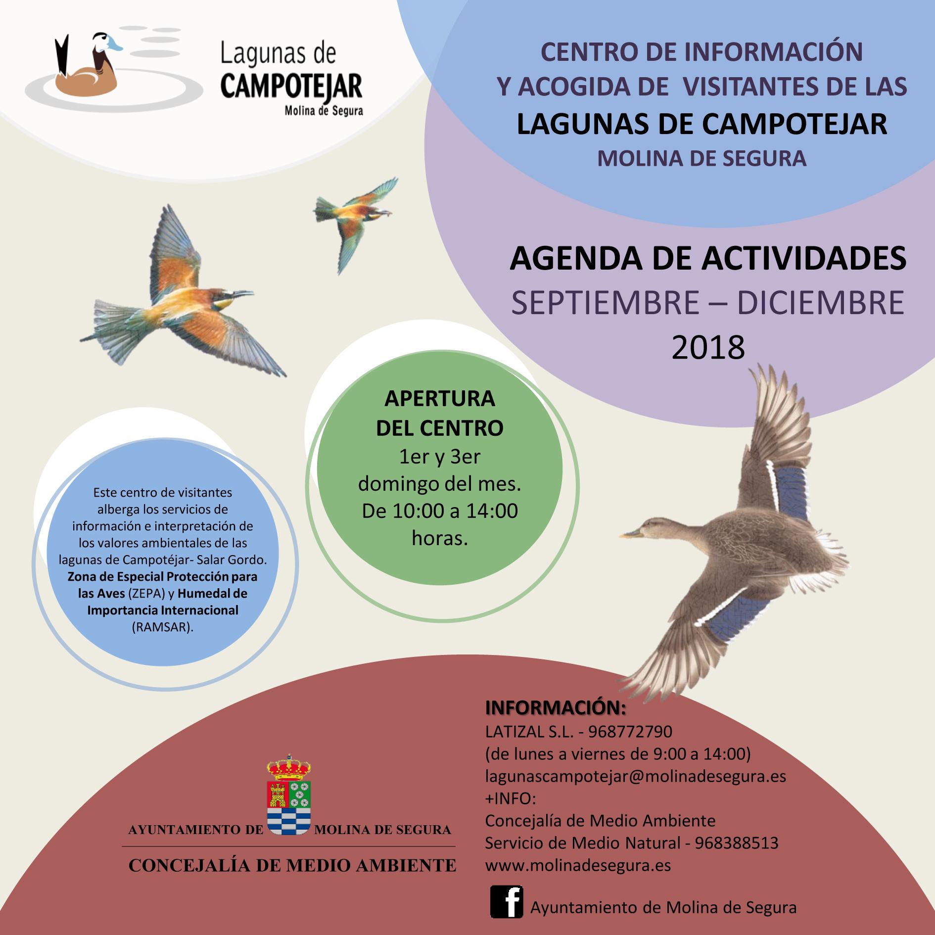 Datos de contacto de las Lagunas de Campotéjar, con el Ayto. de Molina de Segura