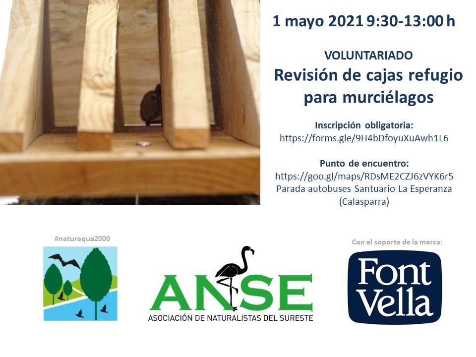 Revisión de cajas refugio de murciélago, con ANSE