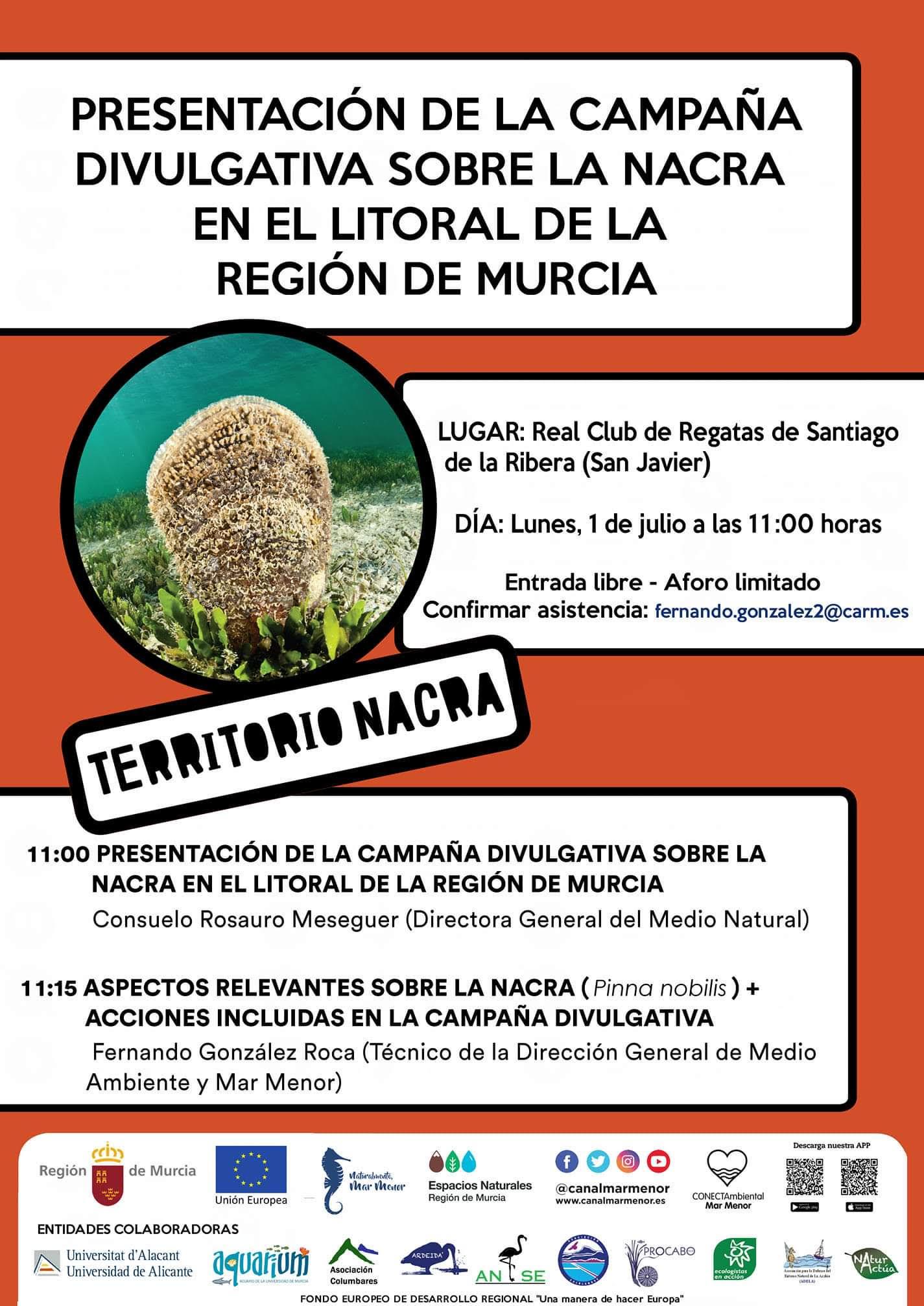 Presentación de la campaña divulgativa sobre la nacra en el litoral de la Región de Murcia, con la CARM