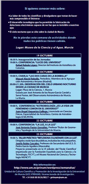 Programa de La Semana de la luz de la Universidad de Murcia