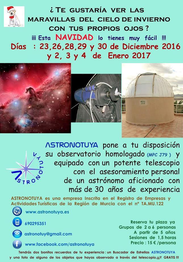 Observación de estrellas por Navidad, con Astronotuya