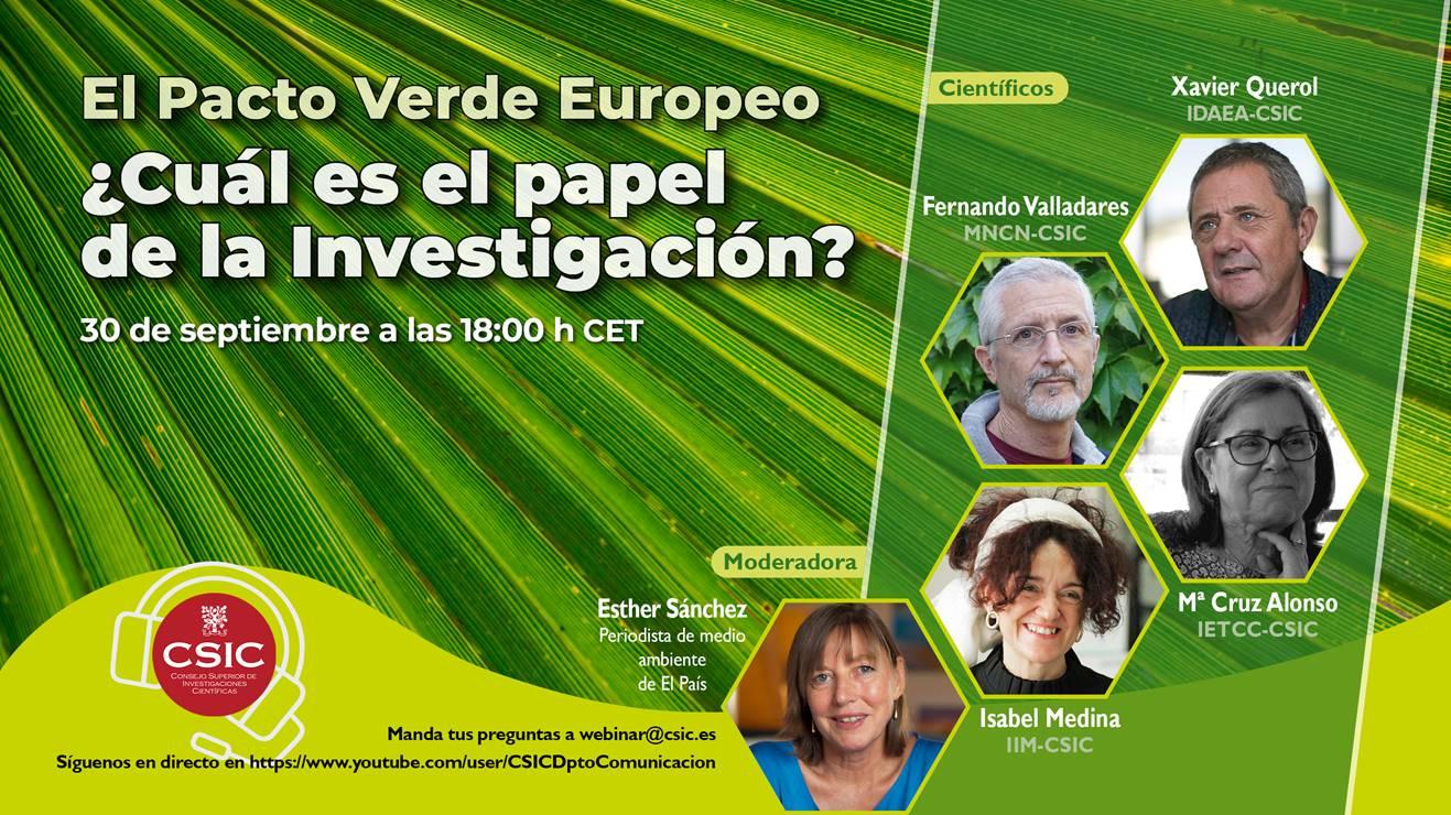 Charla on line sobre el Pacto Verde Europeo, con el CSIC
