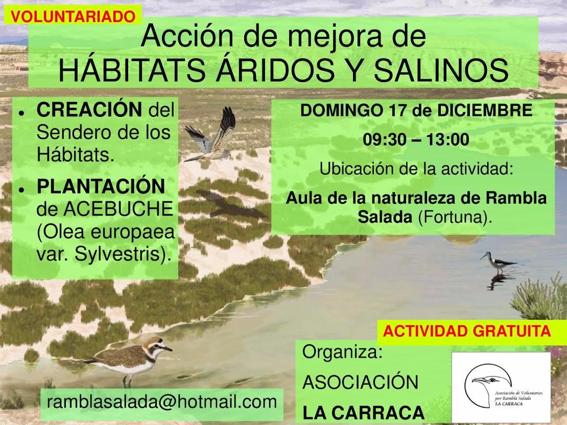 Plantación para la mejora de hábitats áridos y salinos, con La Carraca