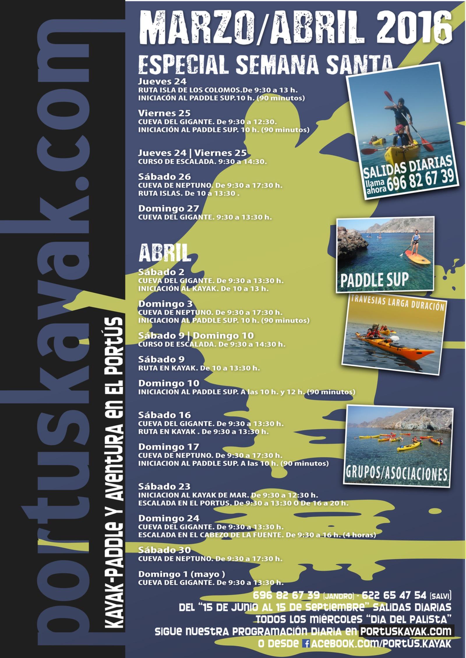 Programación de actividades de Portús Kayak en Marzo y Abril.