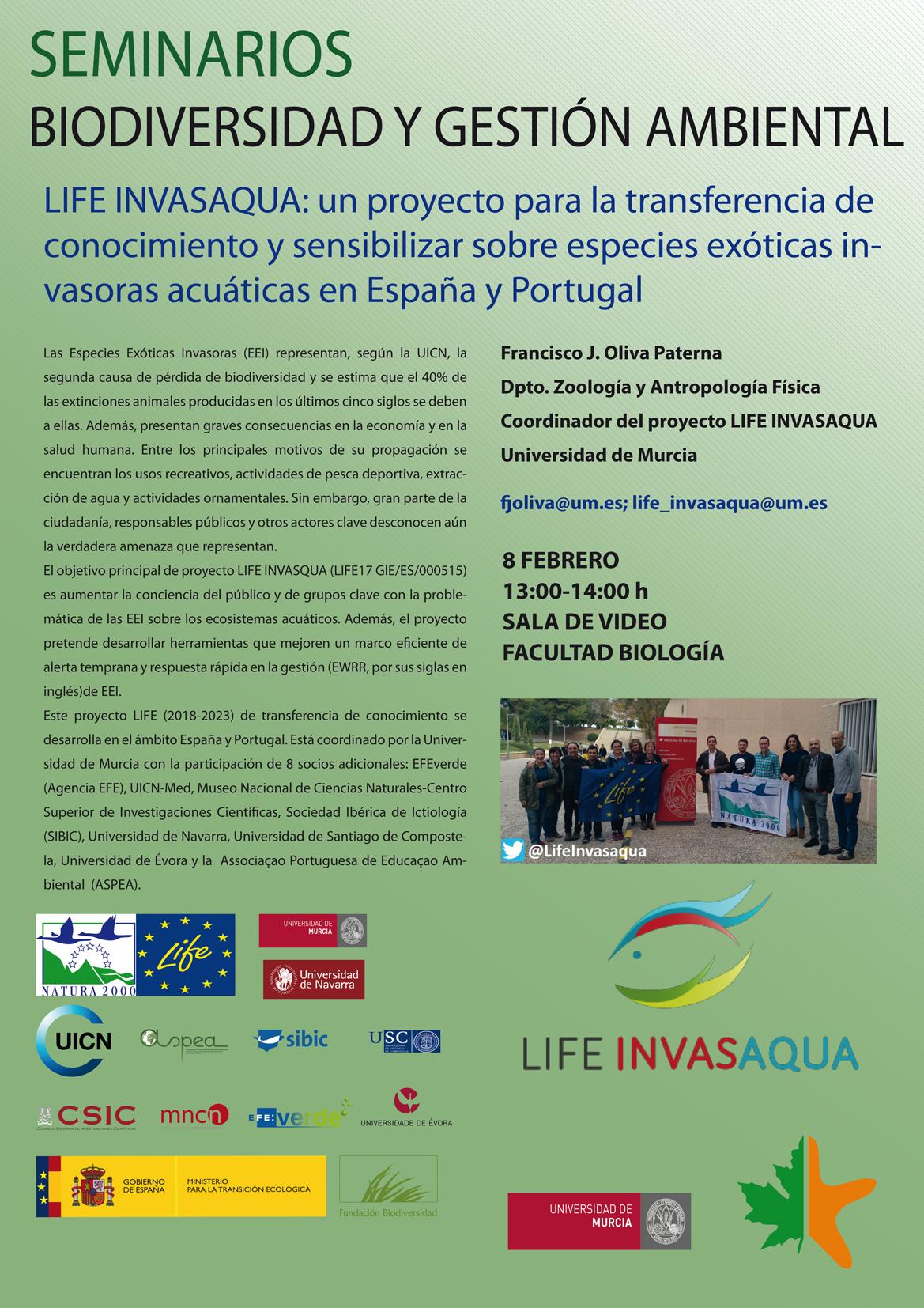 Bioseminario Proyecto LIFE Invasqua, sobre Especies Exóticas Invasoras