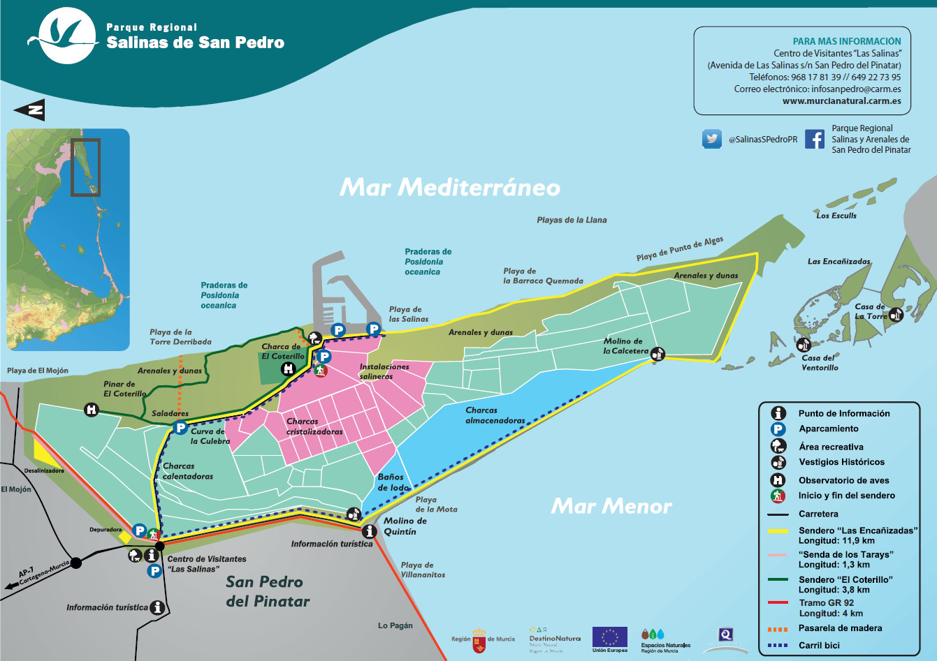 Mapa del PR delas Salinas y Arenales de San Pedro del Pinatar, de la OISMA