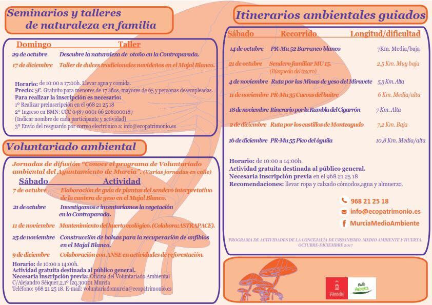Programación de actividades Oct. - Dic. Ayto. Murcia