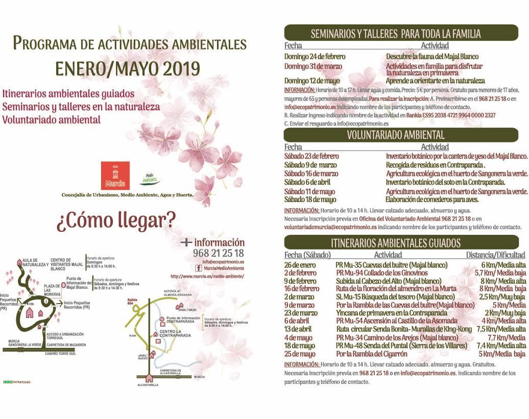 Programa de Actividades Ambientales Enero-Mayo del Ayto. de Murcia