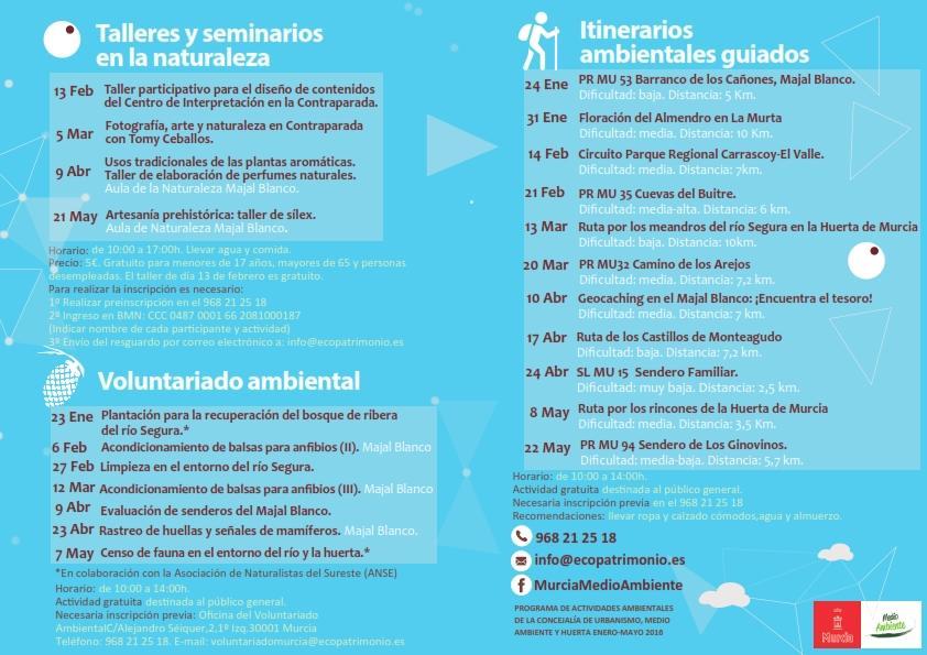 Programa de actividades ambientales en el Ayto. de Murcia, de enero a mayo.