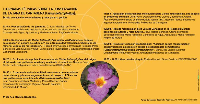 Programa de las I Jornadas técnicas sobre la conservación de la jara de Cartagena, con la OISMA