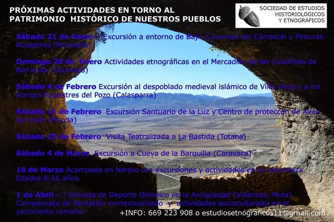 Programa de actividades de la Sociedad de Estudios Historiológicos y Etnográficos