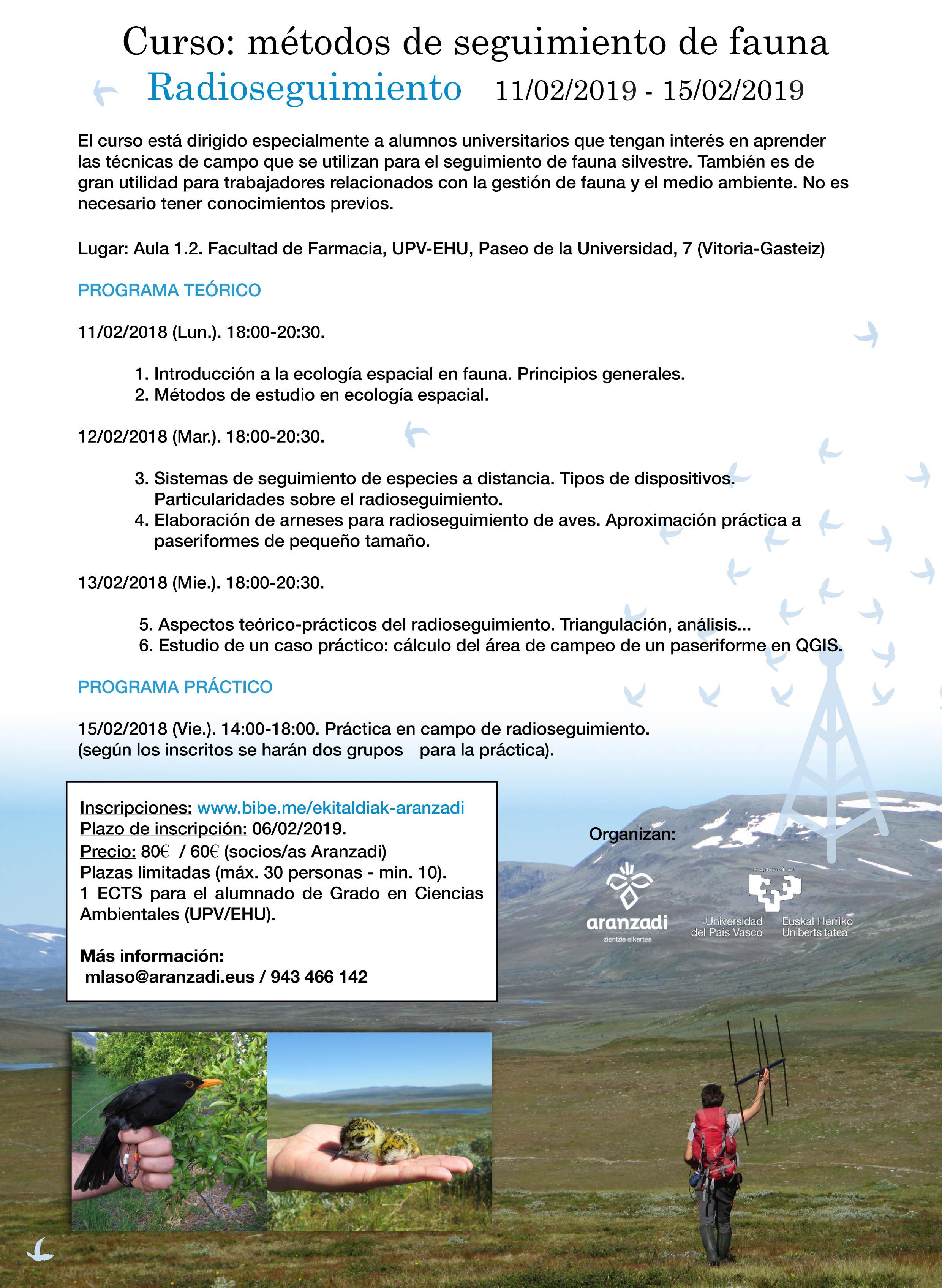 Curso de radioseguimiento de fauna 2, con Aranzadi