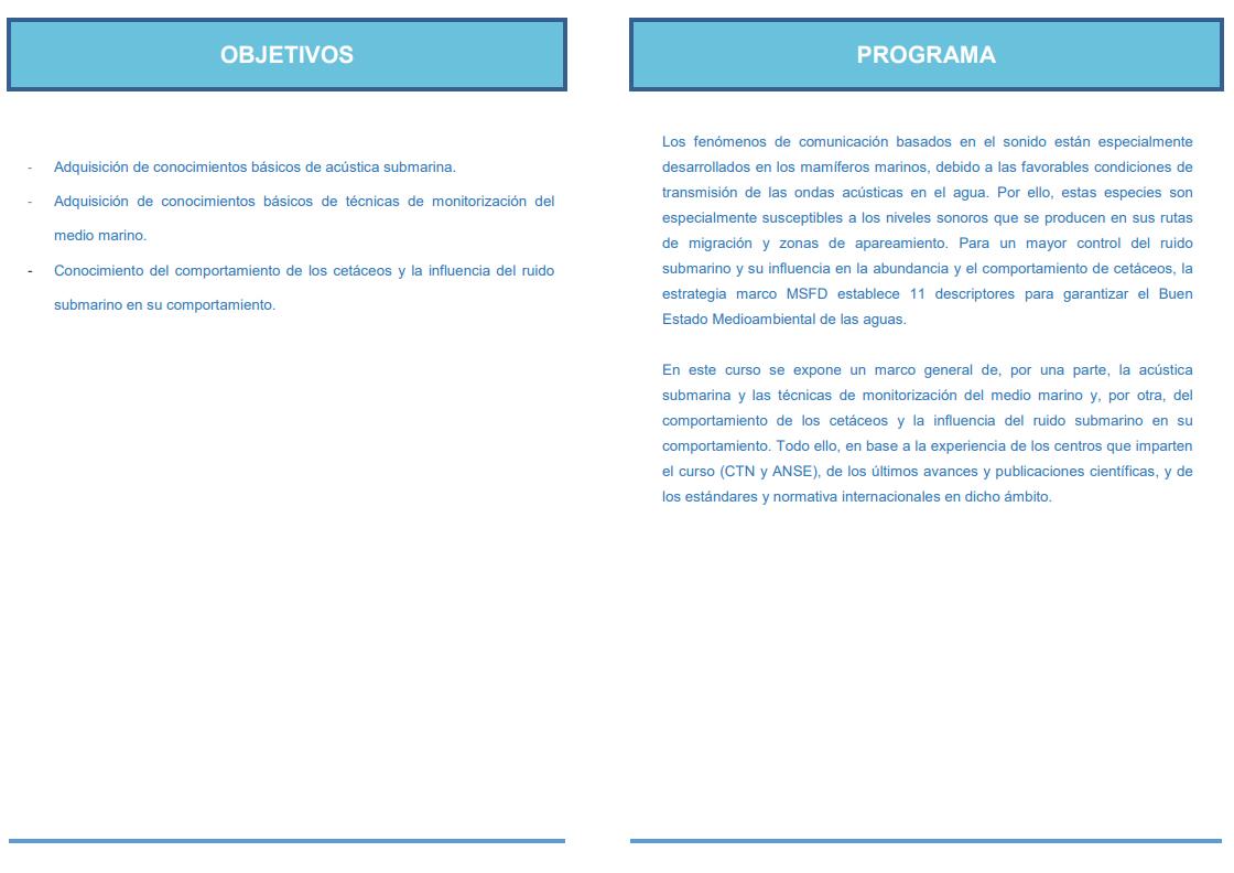 Curso de verano titulado 'Un acercamiento al impacto acústico submarino: ciencia, técnica y tecnología', con la UPCT y CTN