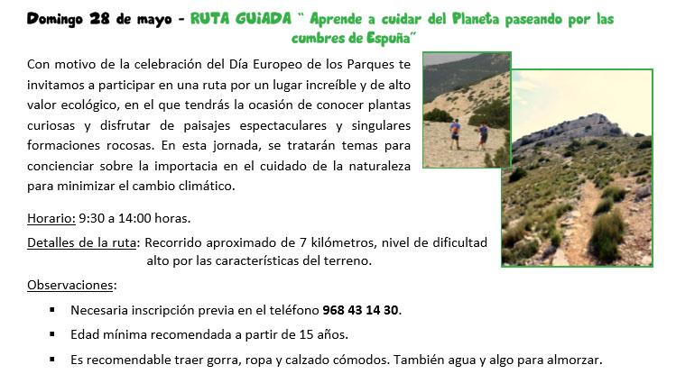 Ruta guiada por las cumbres de Espuña, con la CARM
