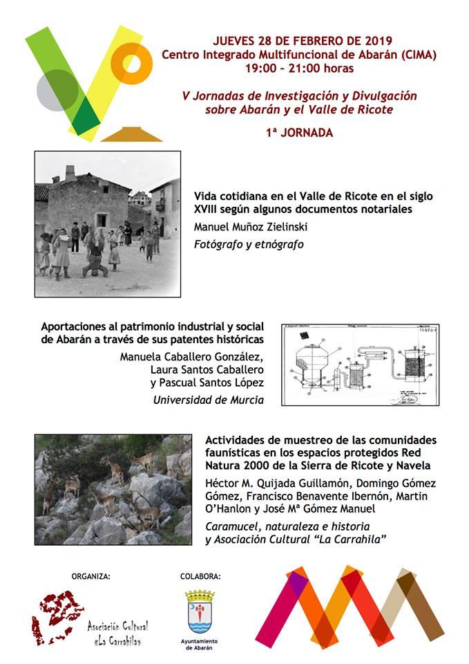 V Jornadas de Investigación y Divulgación sobre Abarán y el Valle de Ricote, con La Carrahila