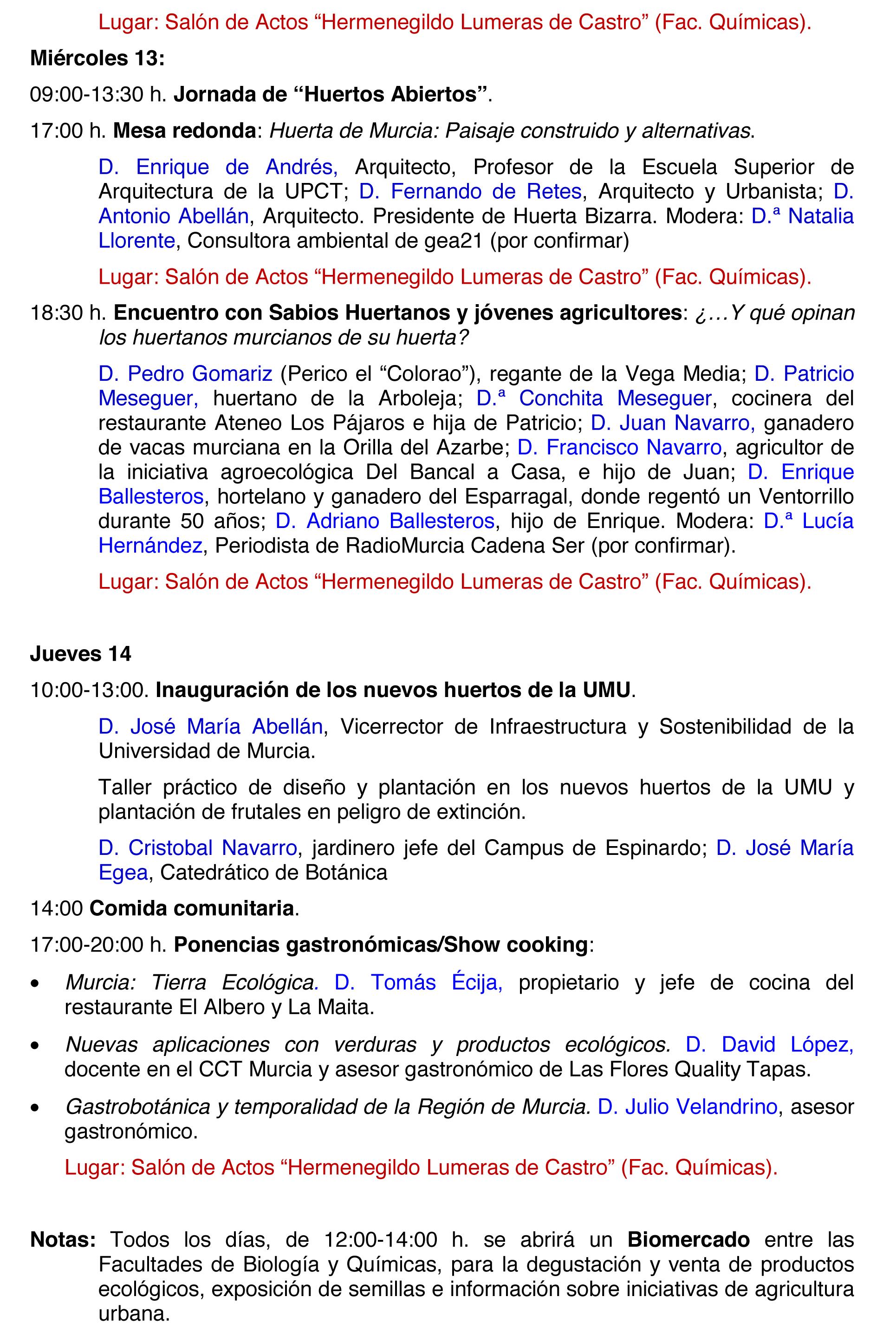 Programa de la I Semana de Agroecología y Soberanía alimentaria, 2