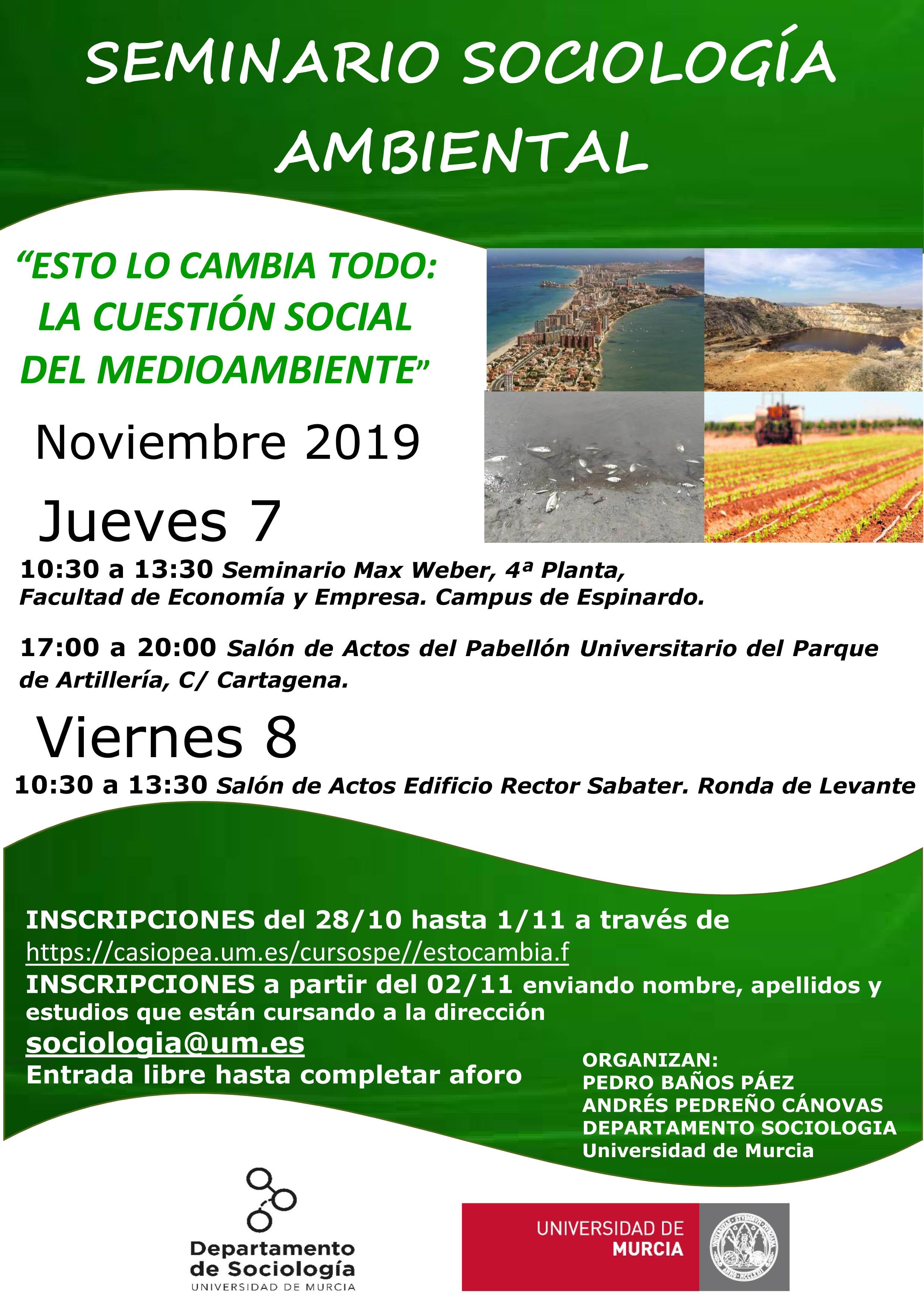 Seminario de Sociología Ambiental, con la UMU