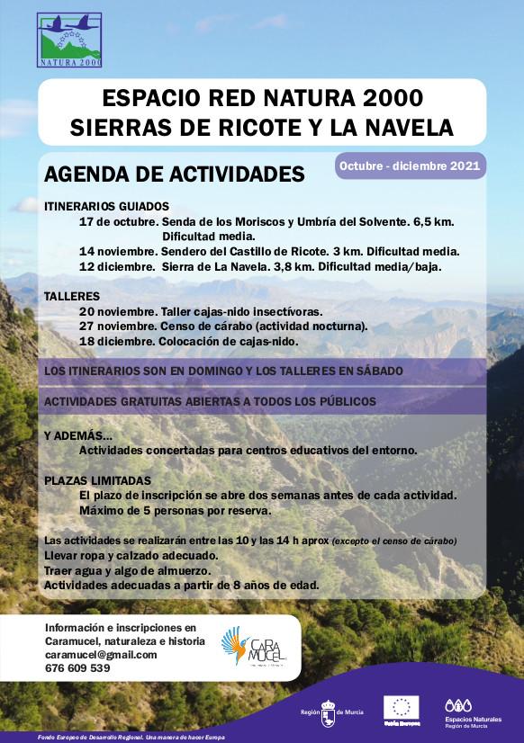 Actividades del Espacio Red Natura 2000 de Sierras de Ricote y La Navela octubre a diciembre de 2021